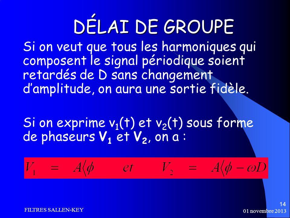 01 novembre 2013 FILTRES SALLEN-KEY 14 Si on veut que tous les harmoniques qui composent le signal périodique soient retardés de D sans changement damplitude, on aura une sortie fidèle.