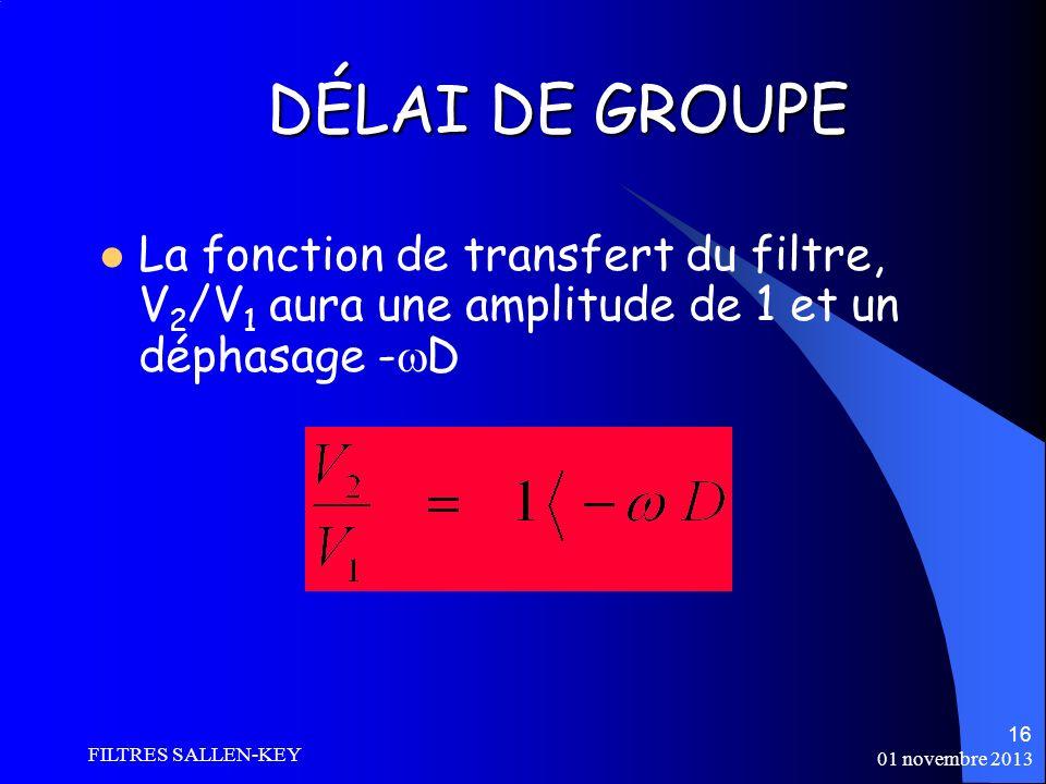 01 novembre 2013 FILTRES SALLEN-KEY 16 La fonction de transfert du filtre, V 2 /V 1 aura une amplitude de 1 et un déphasage - D DÉLAI DE GROUPE