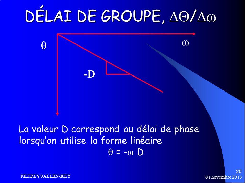 01 novembre 2013 FILTRES SALLEN-KEY 20 DÉLAI DE GROUPE, / DÉLAI DE GROUPE, / -D La valeur D correspond au délai de phase lorsquon utilise la forme linéaire = - D