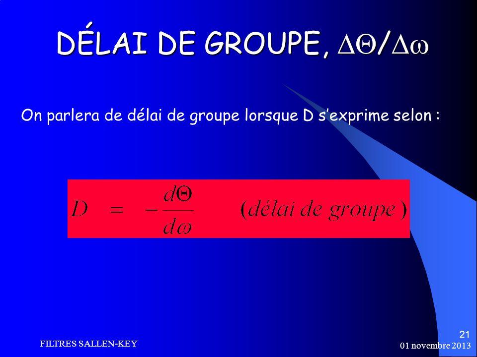 01 novembre 2013 FILTRES SALLEN-KEY 21 DÉLAI DE GROUPE, / DÉLAI DE GROUPE, / On parlera de délai de groupe lorsque D sexprime selon :