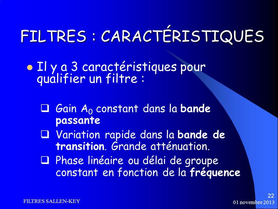 01 novembre 2013 FILTRES SALLEN-KEY 22 FILTRES : CARACTÉRISTIQUES Il y a 3 caractéristiques pour qualifier un filtre : Gain A 0 constant dans la bande passante Variation rapide dans la bande de transition.