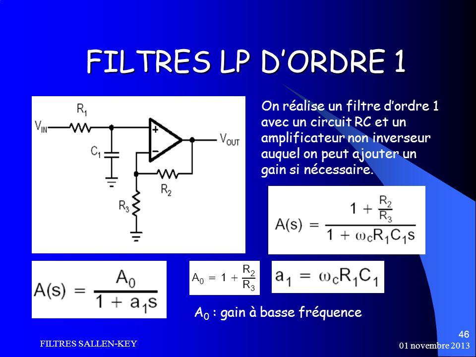 01 novembre 2013 FILTRES SALLEN-KEY 46 FILTRES LP DORDRE 1 On réalise un filtre dordre 1 avec un circuit RC et un amplificateur non inverseur auquel on peut ajouter un gain si nécessaire.