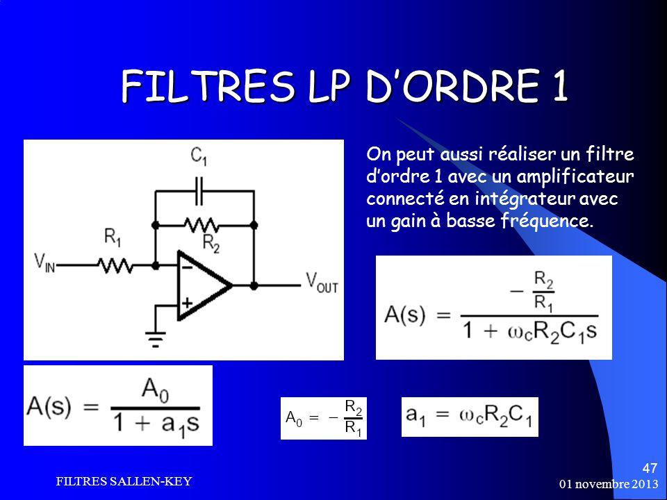 01 novembre 2013 FILTRES SALLEN-KEY 47 FILTRES LP DORDRE 1 On peut aussi réaliser un filtre dordre 1 avec un amplificateur connecté en intégrateur avec un gain à basse fréquence.