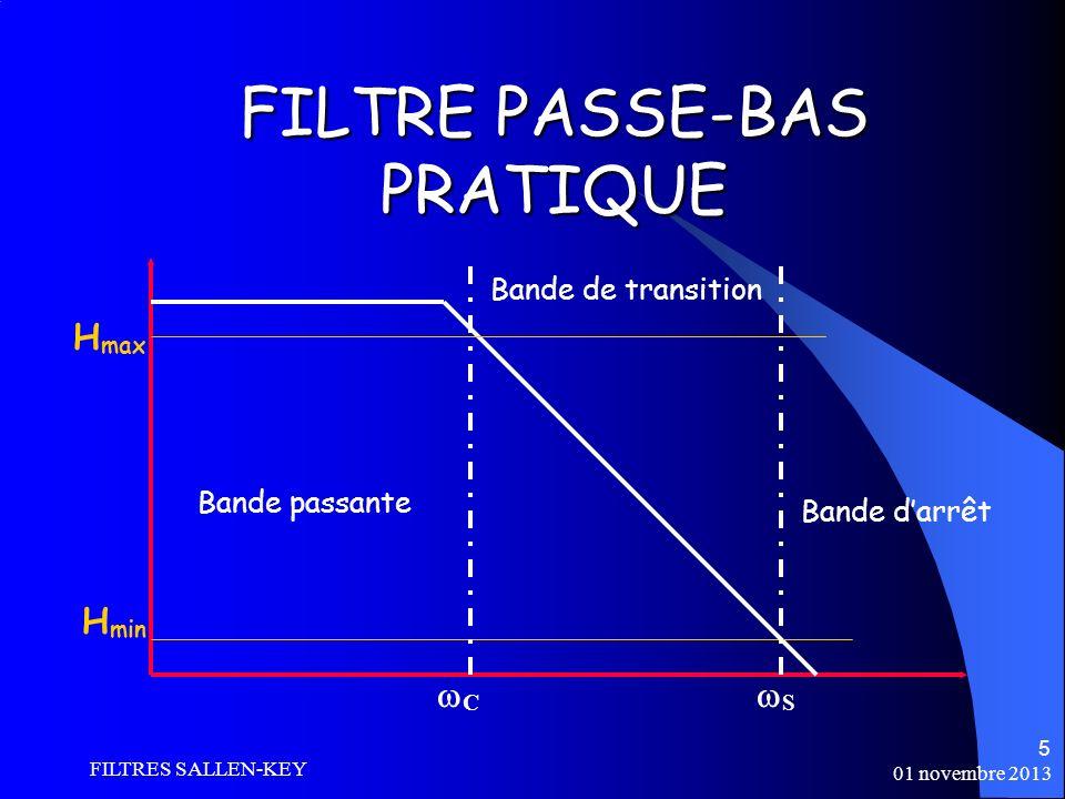 01 novembre 2013 FILTRES SALLEN-KEY 5 FILTRE PASSE-BAS PRATIQUE C S Bande passante H max H min Bande de transition Bande darrêt