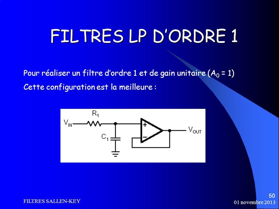 01 novembre 2013 FILTRES SALLEN-KEY 50 FILTRES LP DORDRE 1 Pour réaliser un filtre dordre 1 et de gain unitaire (A 0 = 1) Cette configuration est la meilleure :