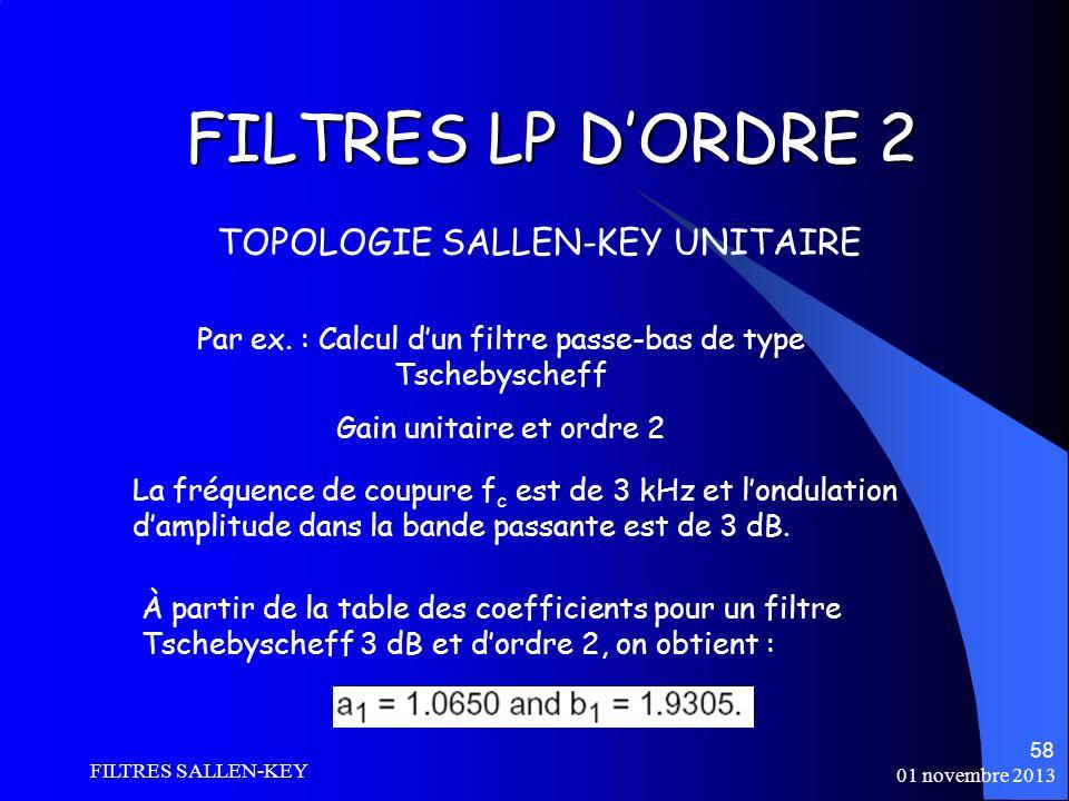 01 novembre 2013 FILTRES SALLEN-KEY 58 FILTRES LP DORDRE 2 TOPOLOGIE SALLEN-KEY UNITAIRE La fréquence de coupure f c est de 3 kHz et londulation damplitude dans la bande passante est de 3 dB.