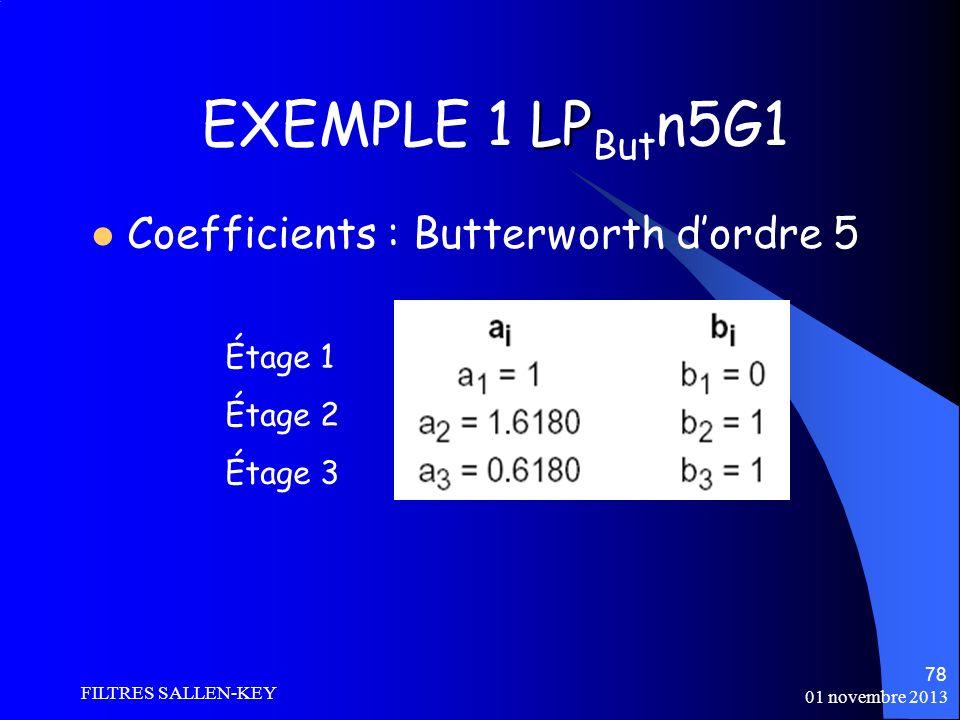 01 novembre 2013 FILTRES SALLEN-KEY 78 LP EXEMPLE 1 LP But n5G1 Coefficients : Butterworth dordre 5 Étage 1 Étage 2 Étage 3