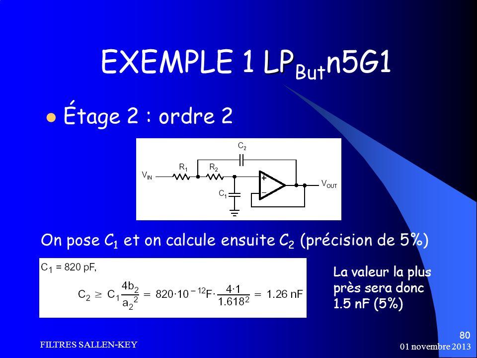 01 novembre 2013 FILTRES SALLEN-KEY 80 LP EXEMPLE 1 LP But n5G1 Étage 2 : ordre 2 On pose C 1 et on calcule ensuite C 2 (précision de 5%) La valeur la plus près sera donc 1.5 nF (5%)