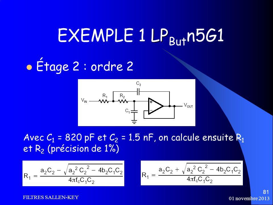 01 novembre 2013 FILTRES SALLEN-KEY 81 LP EXEMPLE 1 LP But n5G1 Étage 2 : ordre 2 Avec C 1 = 820 pF et C 2 = 1.5 nF, on calcule ensuite R 1 et R 2 (précision de 1%)