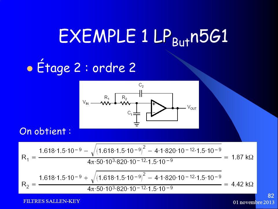 01 novembre 2013 FILTRES SALLEN-KEY 82 LP EXEMPLE 1 LP But n5G1 Étage 2 : ordre 2 On obtient :