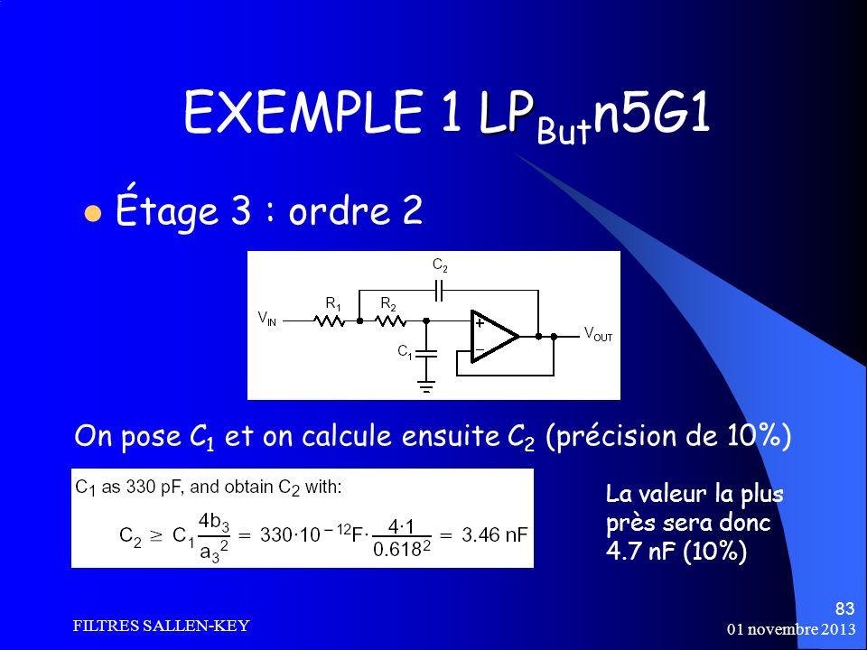 01 novembre 2013 FILTRES SALLEN-KEY 83 LP EXEMPLE 1 LP But n5G1 Étage 3 : ordre 2 On pose C 1 et on calcule ensuite C 2 (précision de 10%) La valeur la plus près sera donc 4.7 nF (10%)