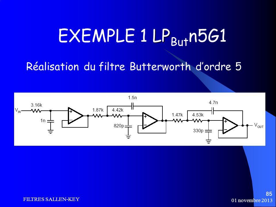 01 novembre 2013 FILTRES SALLEN-KEY 85 LP EXEMPLE 1 LP But n5G1 Réalisation du filtre Butterworth dordre 5
