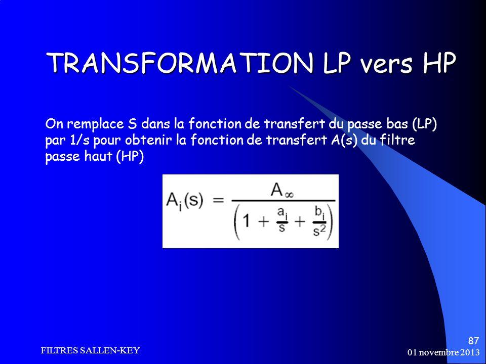 01 novembre 2013 FILTRES SALLEN-KEY 87 TRANSFORMATION LP vers HP On remplace S dans la fonction de transfert du passe bas (LP) par 1/s pour obtenir la fonction de transfert A(s) du filtre passe haut (HP)