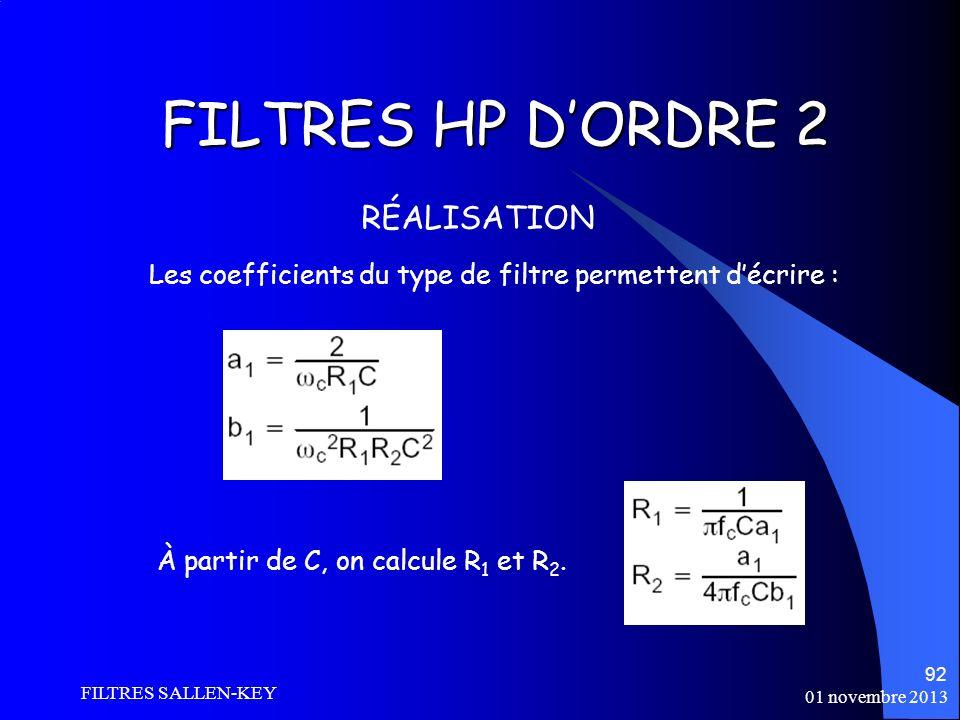 01 novembre 2013 FILTRES SALLEN-KEY 92 FILTRES HP DORDRE 2 RÉALISATION Les coefficients du type de filtre permettent décrire : À partir de C, on calcule R 1 et R 2.