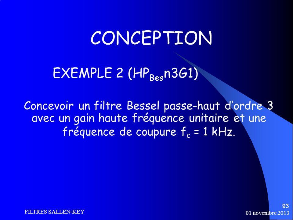 01 novembre 2013 FILTRES SALLEN-KEY 93 CONCEPTION Concevoir un filtre Bessel passe-haut dordre 3 avec un gain haute fréquence unitaire et une fréquence de coupure f c = 1 kHz.