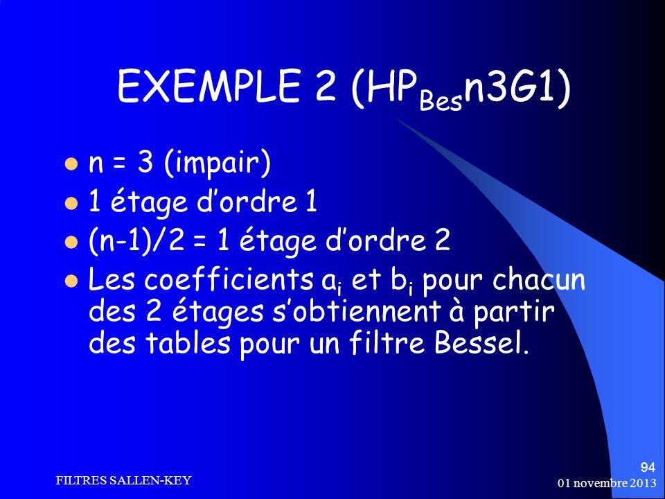 01 novembre 2013 FILTRES SALLEN-KEY 94 EXEMPLE 2 (HP Bes n3G1) n = 3 (impair) 1 étage dordre 1 (n-1)/2 = 1 étage dordre 2 Les coefficients a i et b i pour chacun des 2 étages sobtiennent à partir des tables pour un filtre Bessel.