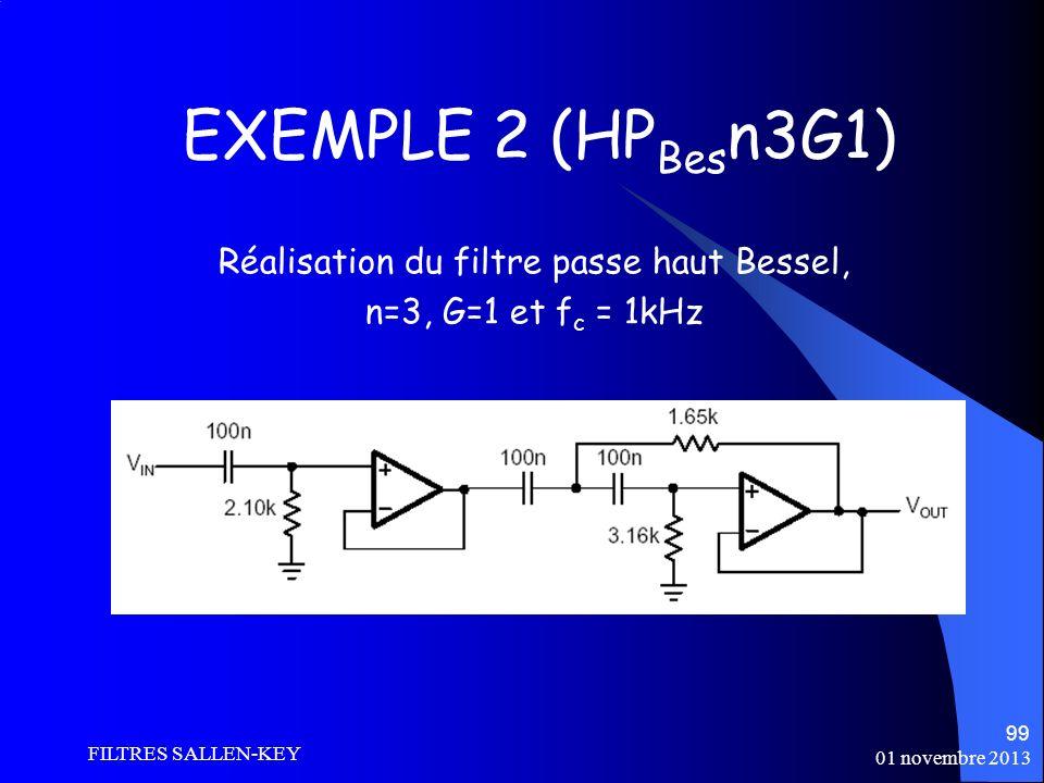 01 novembre 2013 FILTRES SALLEN-KEY 99 EXEMPLE 2 (HP Bes n3G1) Réalisation du filtre passe haut Bessel, n=3, G=1 et f c = 1kHz