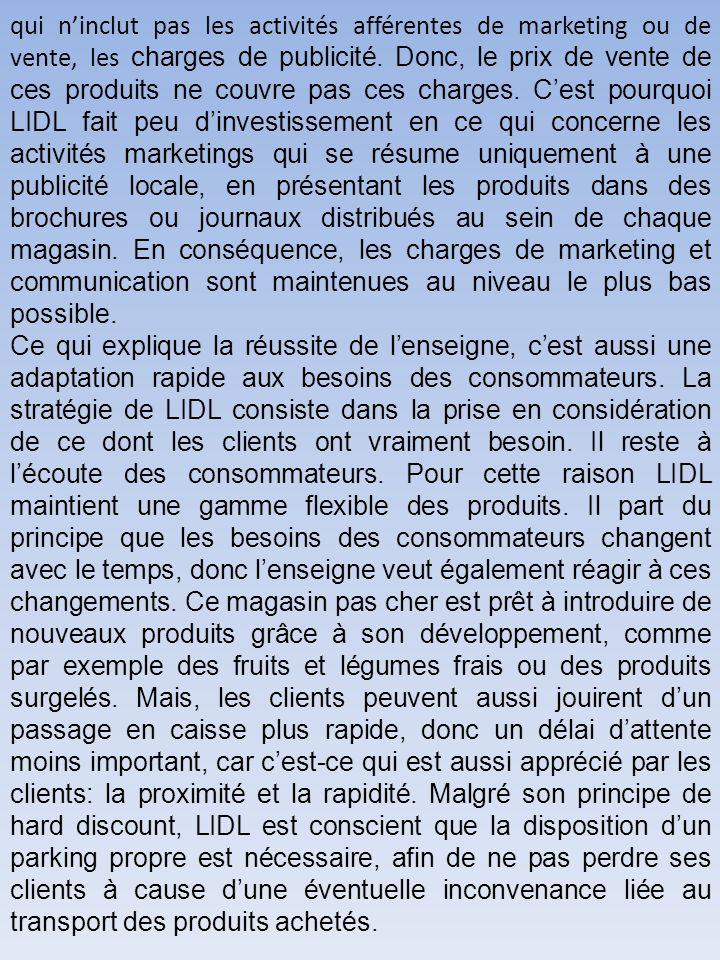 qui ninclut pas les activités afférentes de marketing ou de vente, les charges de publicité.
