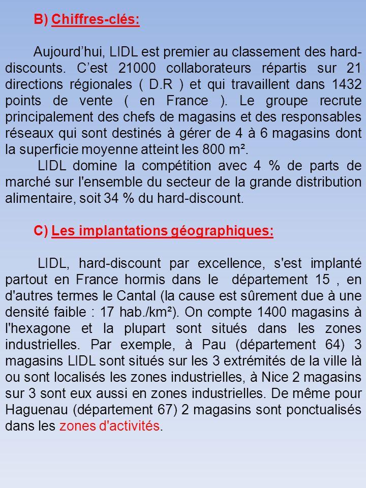 B) Chiffres-clés: Aujourdhui, LIDL est premier au classement des hard- discounts. Cest 21000 collaborateurs répartis sur 21 directions régionales ( D.