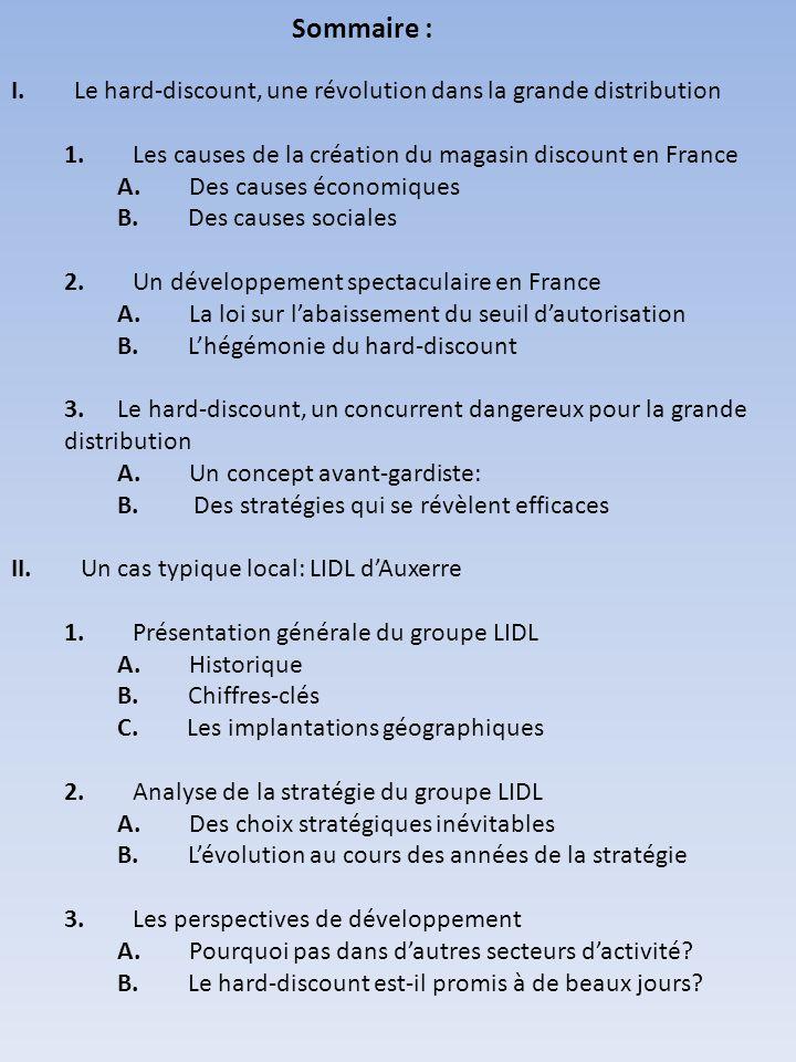 Sommaire : I. Le hard-discount, une révolution dans la grande distribution 1. Les causes de la création du magasin discount en France A. Des causes éc
