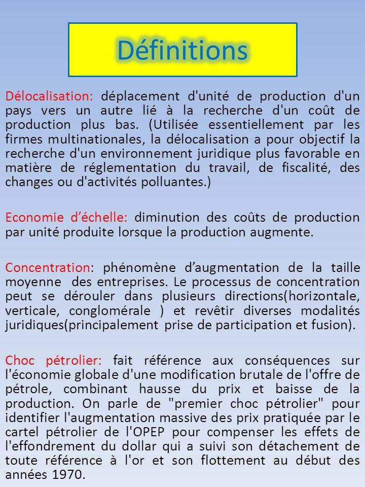 Délocalisation: déplacement d'unité de production d'un pays vers un autre lié à la recherche d'un coût de production plus bas. (Utilisée essentielleme