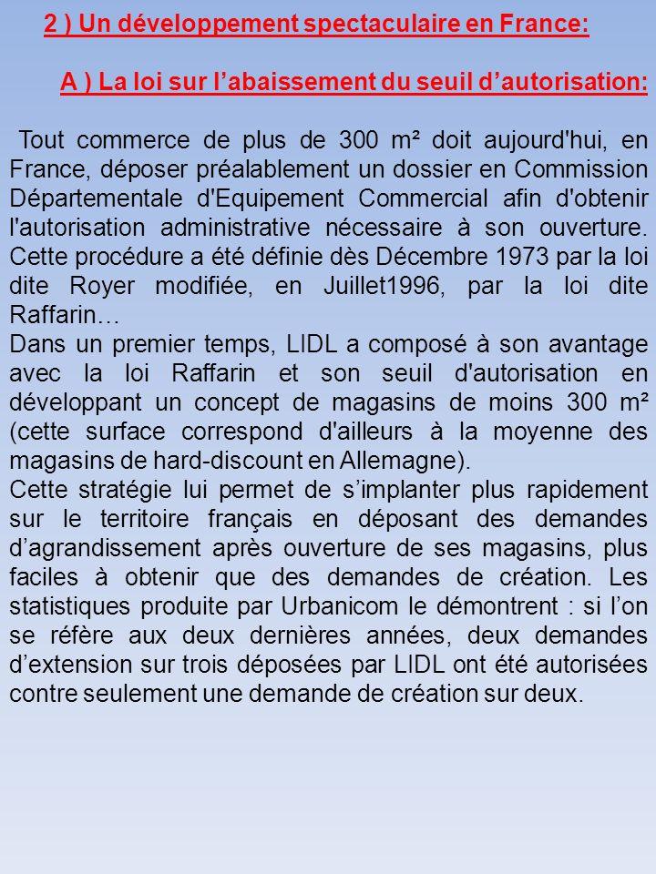 2 ) Un développement spectaculaire en France: A ) La loi sur labaissement du seuil dautorisation: Tout commerce de plus de 300 m² doit aujourd'hui, en