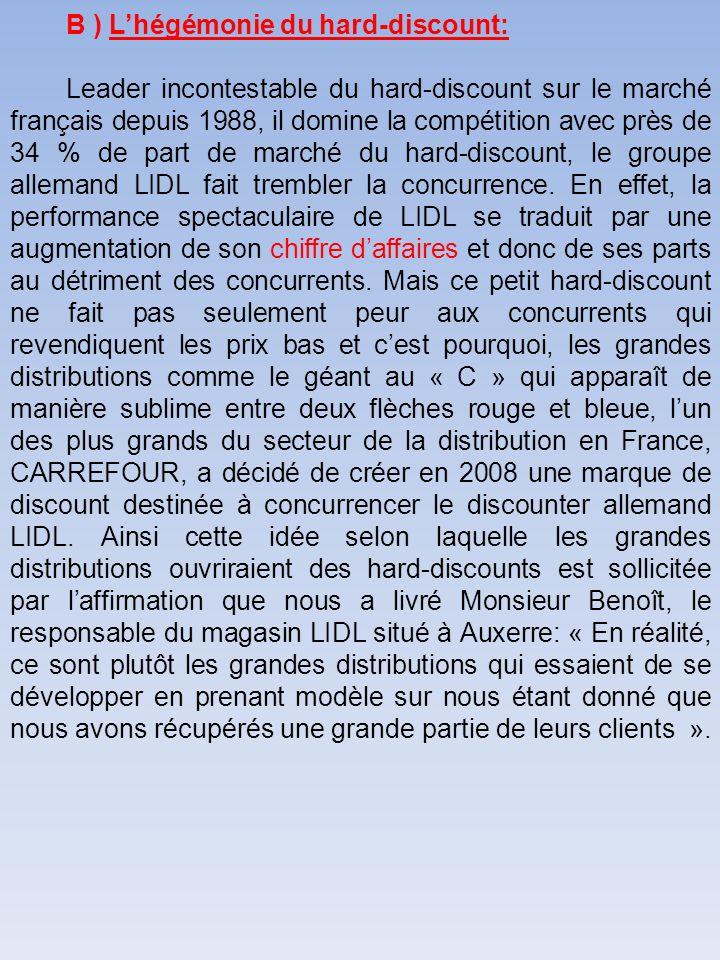 B ) Lhégémonie du hard-discount: Leader incontestable du hard-discount sur le marché français depuis 1988, il domine la compétition avec près de 34 %