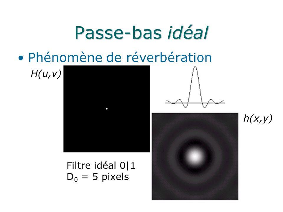 Passe-bas idéal Phénomène de réverbération H(u,v) h(x,y) Filtre idéal 0|1 D 0 = 5 pixels