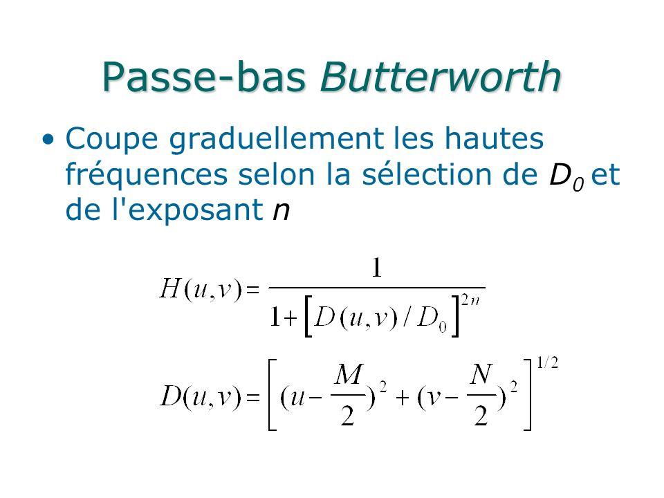 Passe-bas Butterworth Coupe graduellement les hautes fréquences selon la sélection de D 0 et de l exposant n
