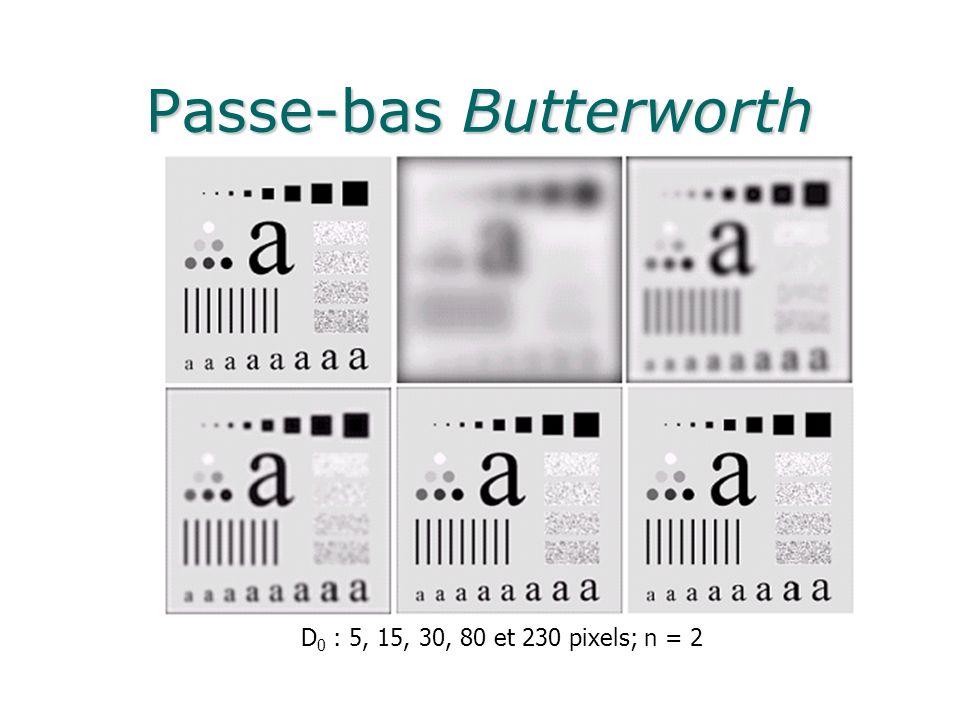 Passe-bas Butterworth D 0 : 5, 15, 30, 80 et 230 pixels; n = 2