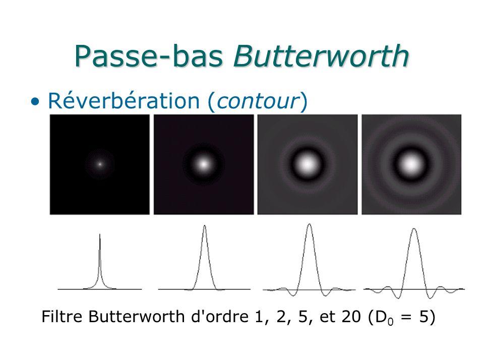 Passe-bas Butterworth Réverbération (contour) Filtre Butterworth d ordre 1, 2, 5, et 20 (D 0 = 5)