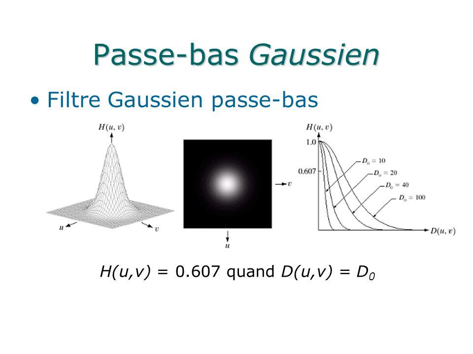 Passe-bas Gaussien Filtre Gaussien passe-bas H(u,v) = 0.607 quand D(u,v) = D 0