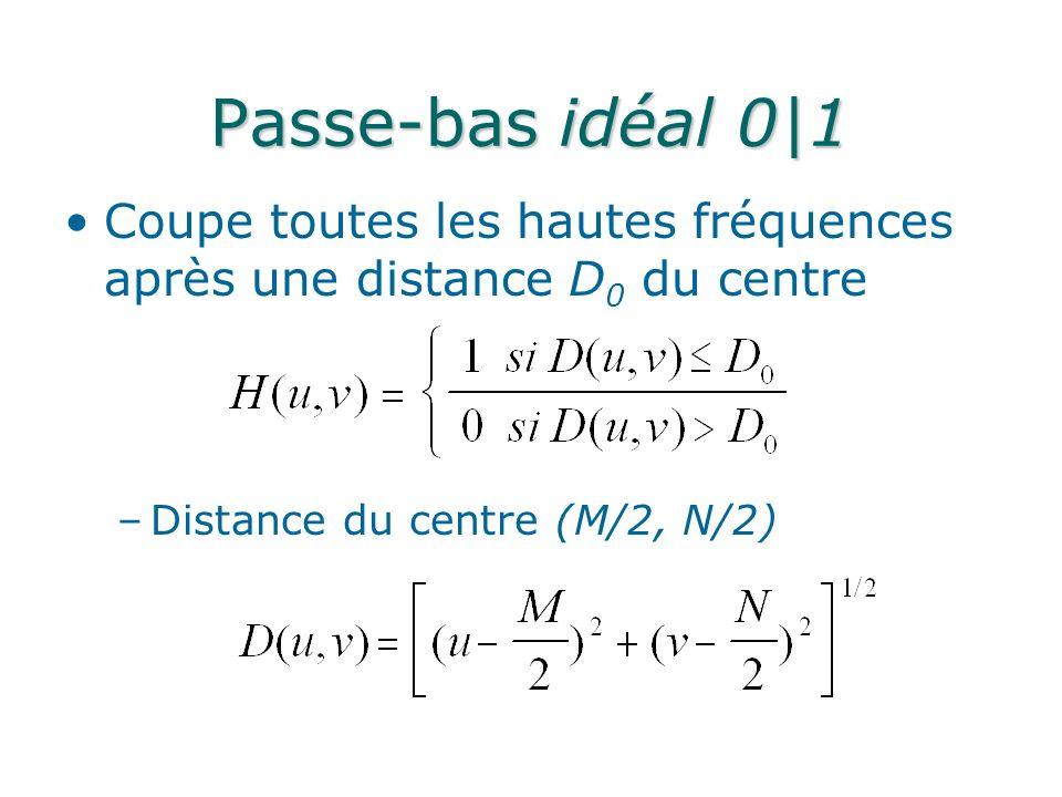 Passe-bas idéal 0|1 Coupe toutes les hautes fréquences après une distance D 0 du centre –Distance du centre (M/2, N/2)