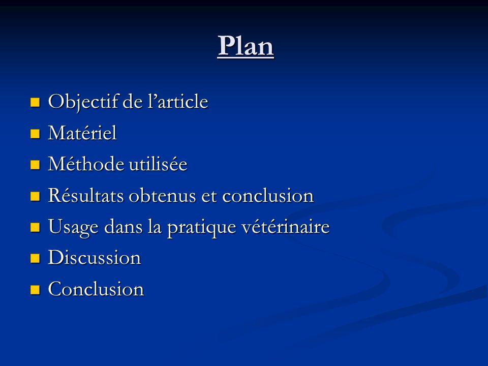 Plan Objectif de larticle Objectif de larticle Matériel Matériel Méthode utilisée Méthode utilisée Résultats obtenus et conclusion Résultats obtenus e