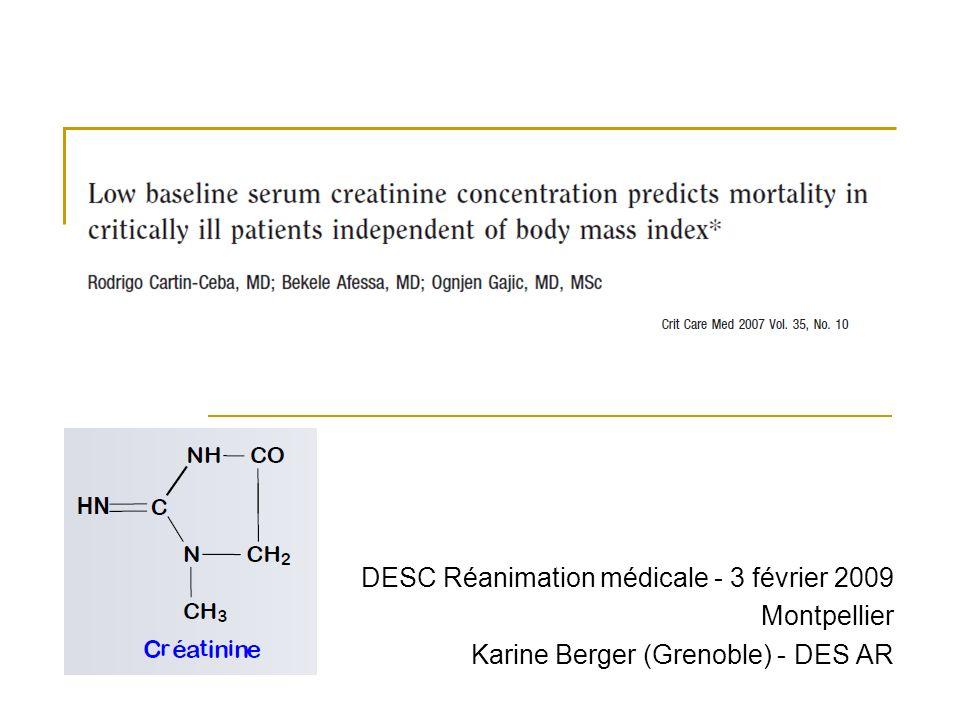 Introduction (1) Créatinine : marqueur de la fonction rénale, Production : catabolisme de la créatine (composé protéique contenu dans le tissu musculaire), formation dans le muscle, - Chaque jour : 1,7 % de la créatine musculaire totale est transformée en créatinine, - Indépendante de lapport protéique alimentaire, - Dépend uniquement de la masse musculaire totale qui varie selon lâge et le sexe, Métabolisme : molécule inerte non métabolisée, ni utilisée, Elimination : rénale, pas de réabsorption, marqueur du débit de filtration glomérulaire.