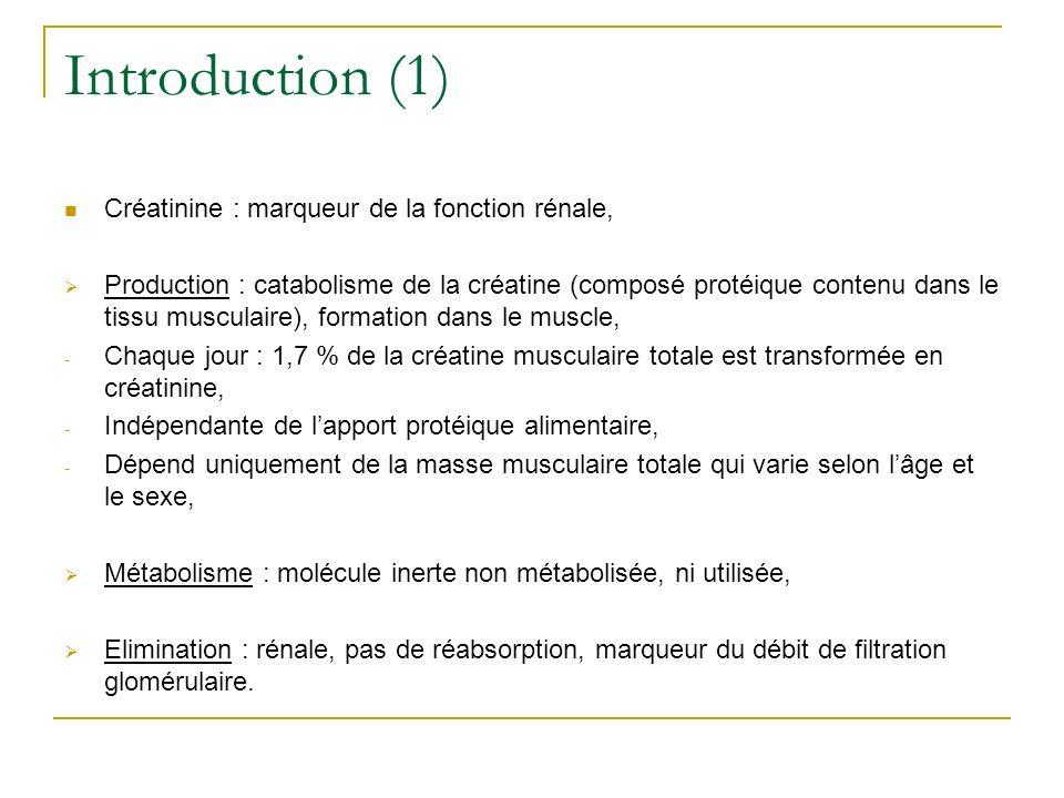 Introduction (1) Créatinine : marqueur de la fonction rénale, Production : catabolisme de la créatine (composé protéique contenu dans le tissu muscula