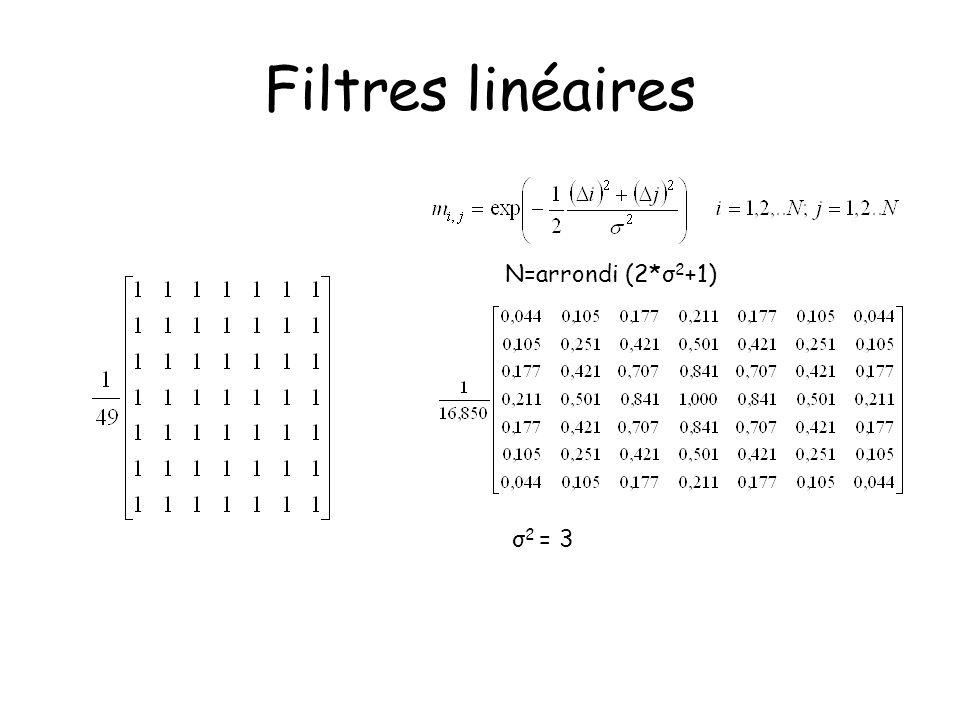 Filtres linéaires N=arrondi (2*σ 2 +1) σ 2 = 3