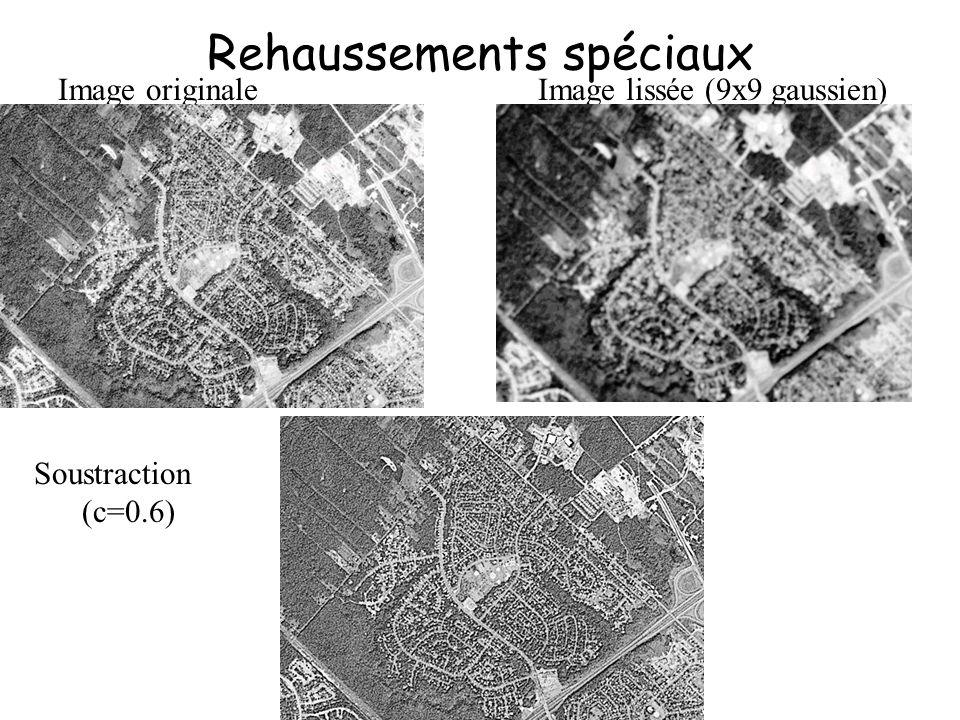 Rehaussements spéciaux Image originaleImage lissée (9x9 gaussien) Soustraction (c=0.6)
