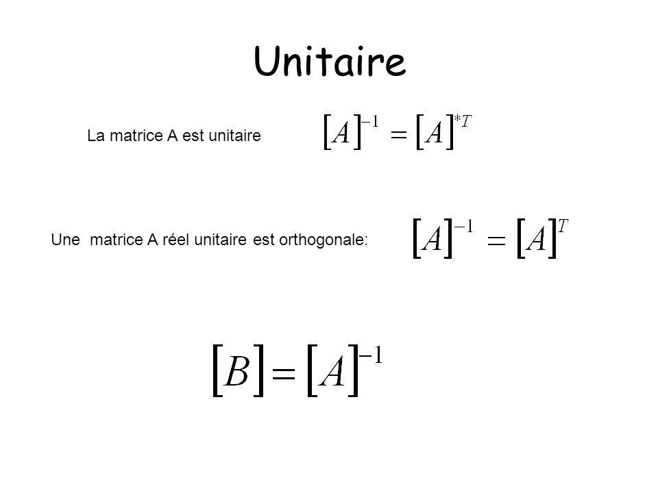 Unitaire La matrice A est unitaire Une matrice A réel unitaire est orthogonale: