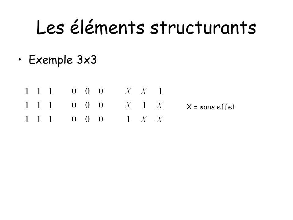 X = sans effet Les éléments structurants Exemple 3x3