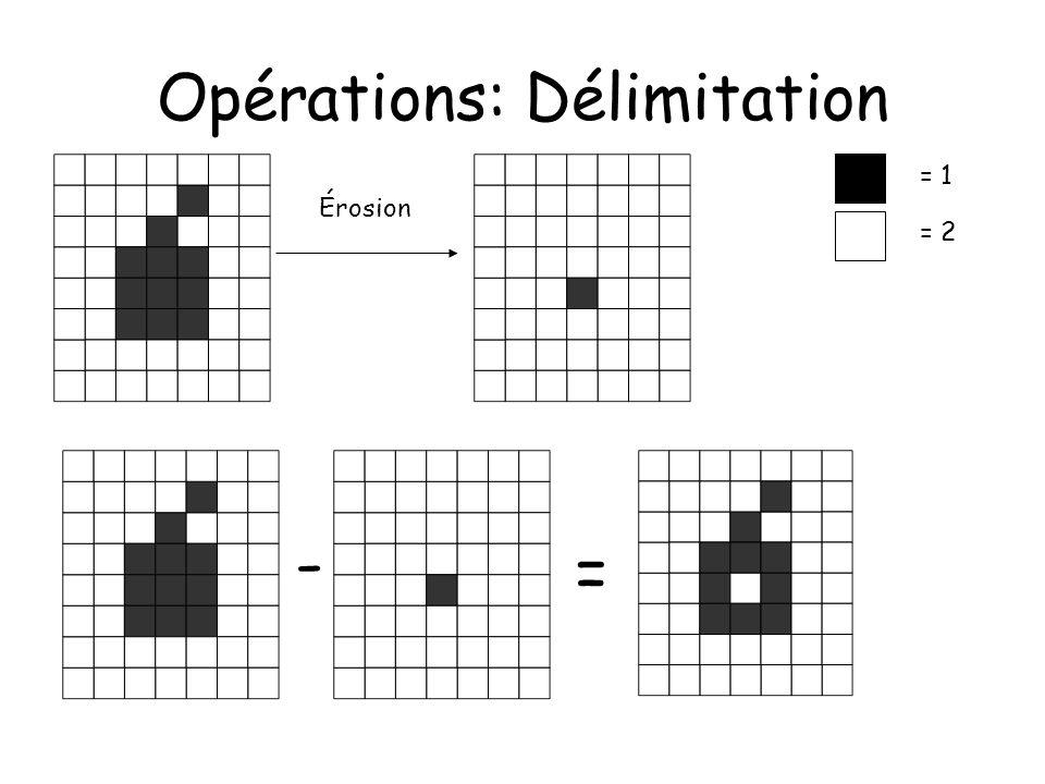 Opérations: Délimitation Érosion = 1 = 2 - =