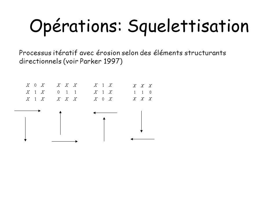 Opérations: Squelettisation Processus itératif avec érosion selon des éléments structurants directionnels (voir Parker 1997)