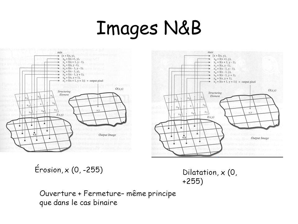 Images N&B Érosion, x (0, -255) Dilatation, x (0, +255) Ouverture + Fermeture– même principe que dans le cas binaire