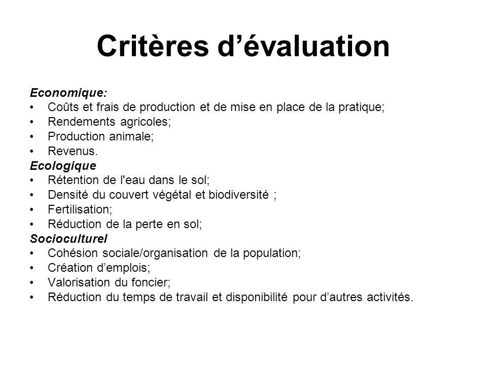 Critères dévaluation Economique: Coûts et frais de production et de mise en place de la pratique; Rendements agricoles; Production animale; Revenus. E