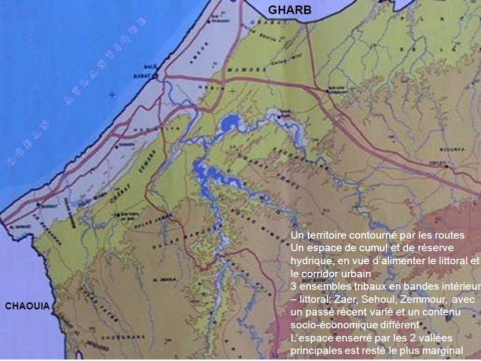 Forêts de chêne liège sur les plans vs Forêts de thuya - matorral dans les vallées Riches cultures sur les plans vs Cultures marginales – parcours des vallées