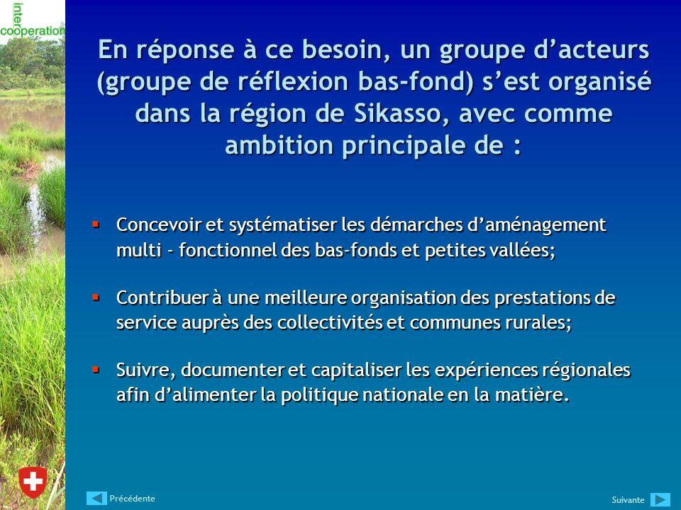 En réponse à ce besoin, un groupe dacteurs (groupe de réflexion bas-fond) sest organisé dans la région de Sikasso, avec comme ambition principale de :