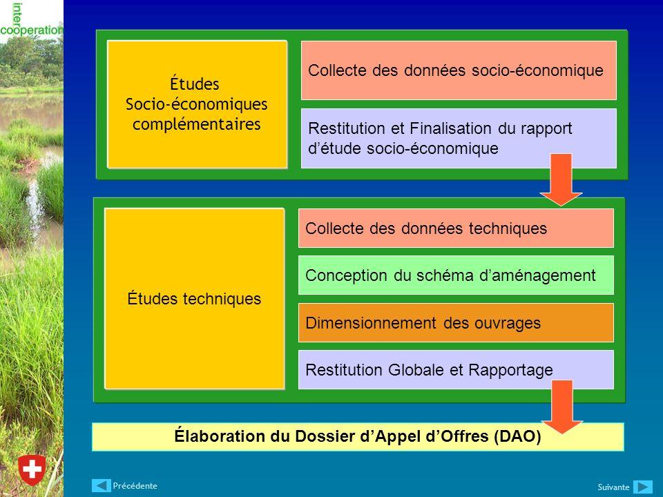 Élaboration du Dossier dAppel dOffres (DAO) Études Socio-économiques complémentaires Collecte des données socio-économique Restitution et Finalisation