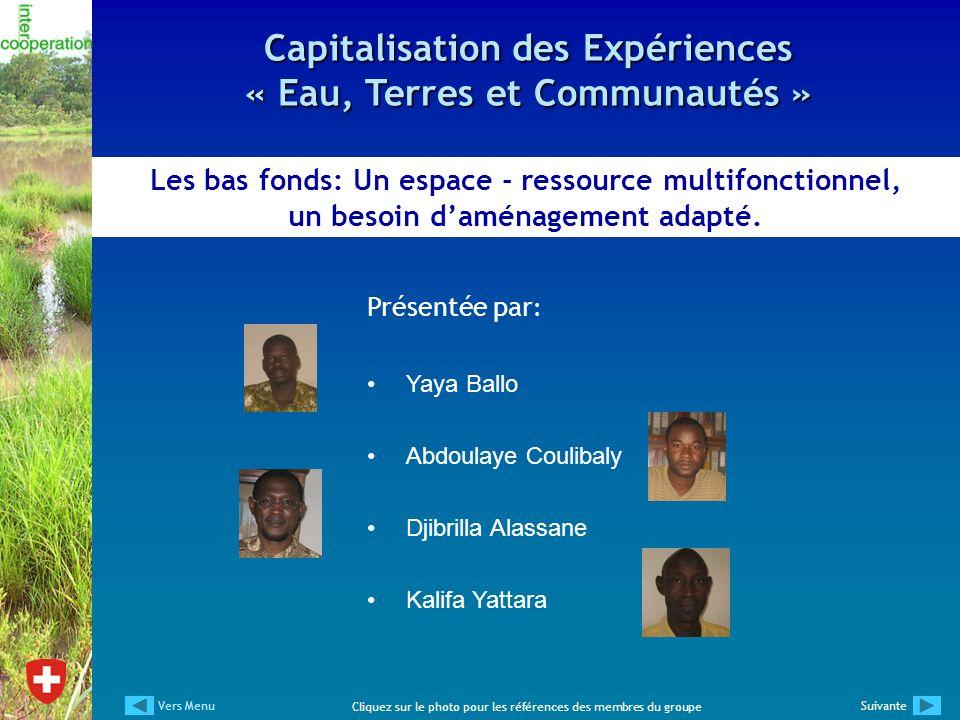 Présentée par : Yaya Ballo Abdoulaye Coulibaly Djibrilla Alassane Kalifa Yattara Les bas fonds: Un espace - ressource multifonctionnel, un besoin damé