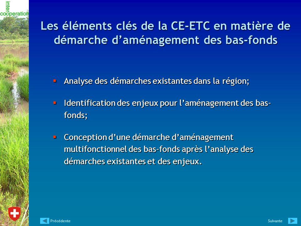 Les éléments clés de la CE-ETC en matière de démarche daménagement des bas-fonds Analyse des démarches existantes dans la région; Analyse des démarche