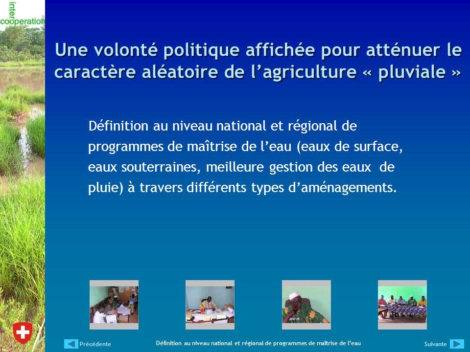 Une volonté politique affichée pour atténuer le caractère aléatoire de lagriculture « pluviale » Définition au niveau national et régional de programm